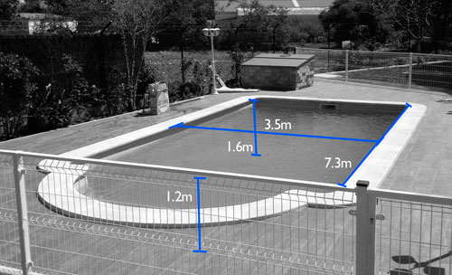 medidas piscina de fibra monocasco