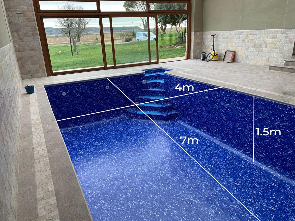 medidas de piscina rehabilitada con fibra laminada armada